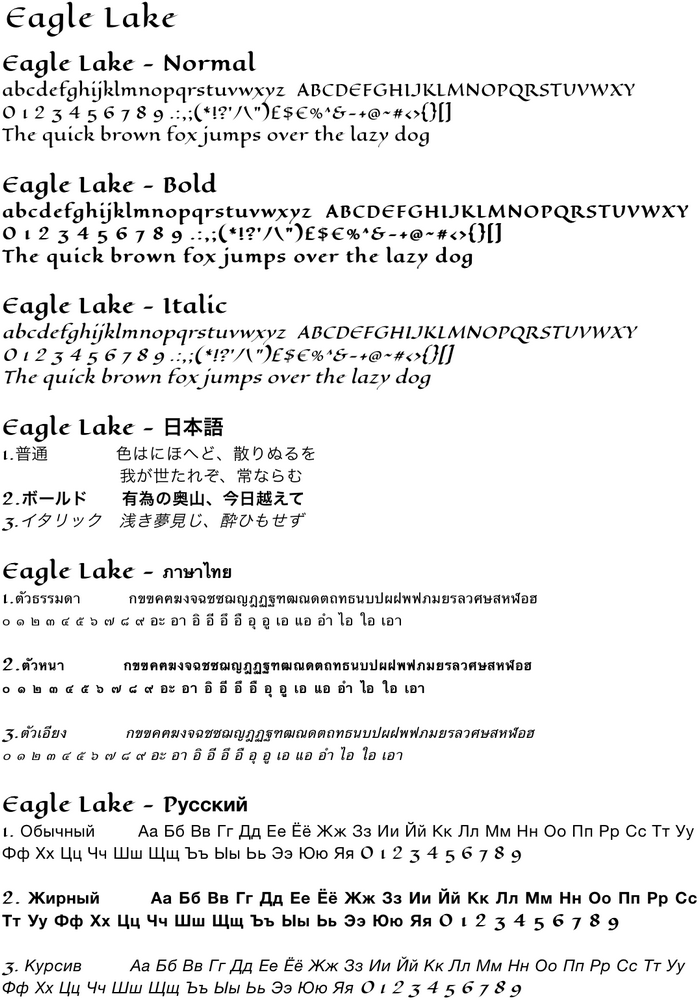 Sample text with Eagle Lake character font.