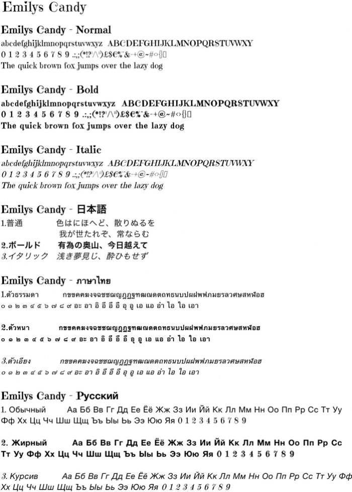 Sample text to demonstrate Emilys Candy character font
