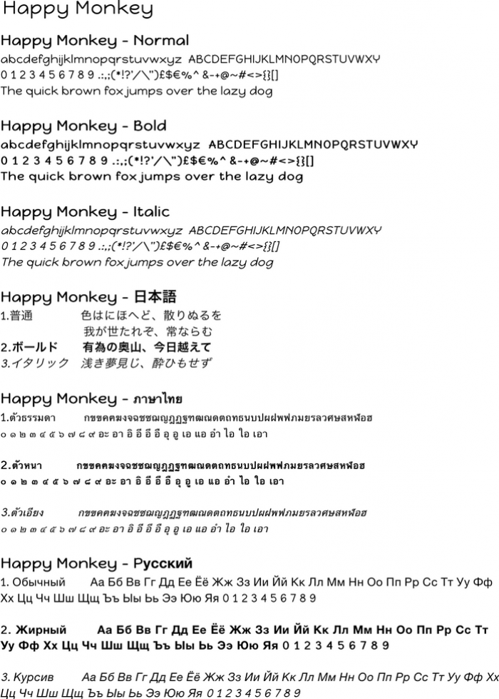 Sample text with Happy Monkey character font