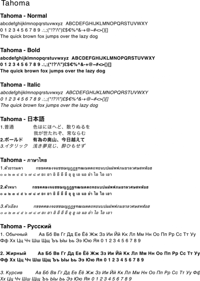 Sample text written in Tahoma character font.