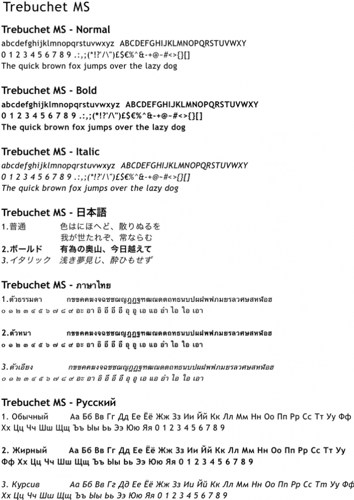 Sample text showing the Trebuchet MS character font.